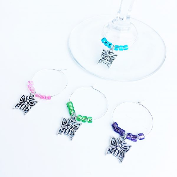Butterfly Wine Charms Set of 4