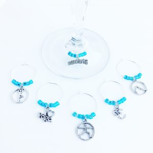 yoga wine charms set of 6 with light blue glass beads
