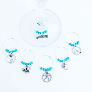 yogi wine tags with light blue beads