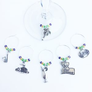 new orleans wine charms set of 6