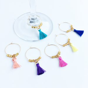 gold wine tags with colorful tassels
