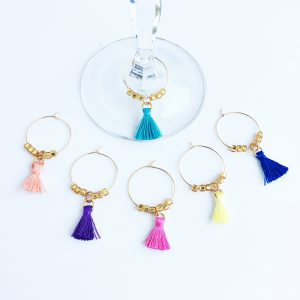 colorful tassel wine glass charms