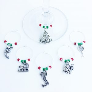 unique Italy gift set of 6 wine charms