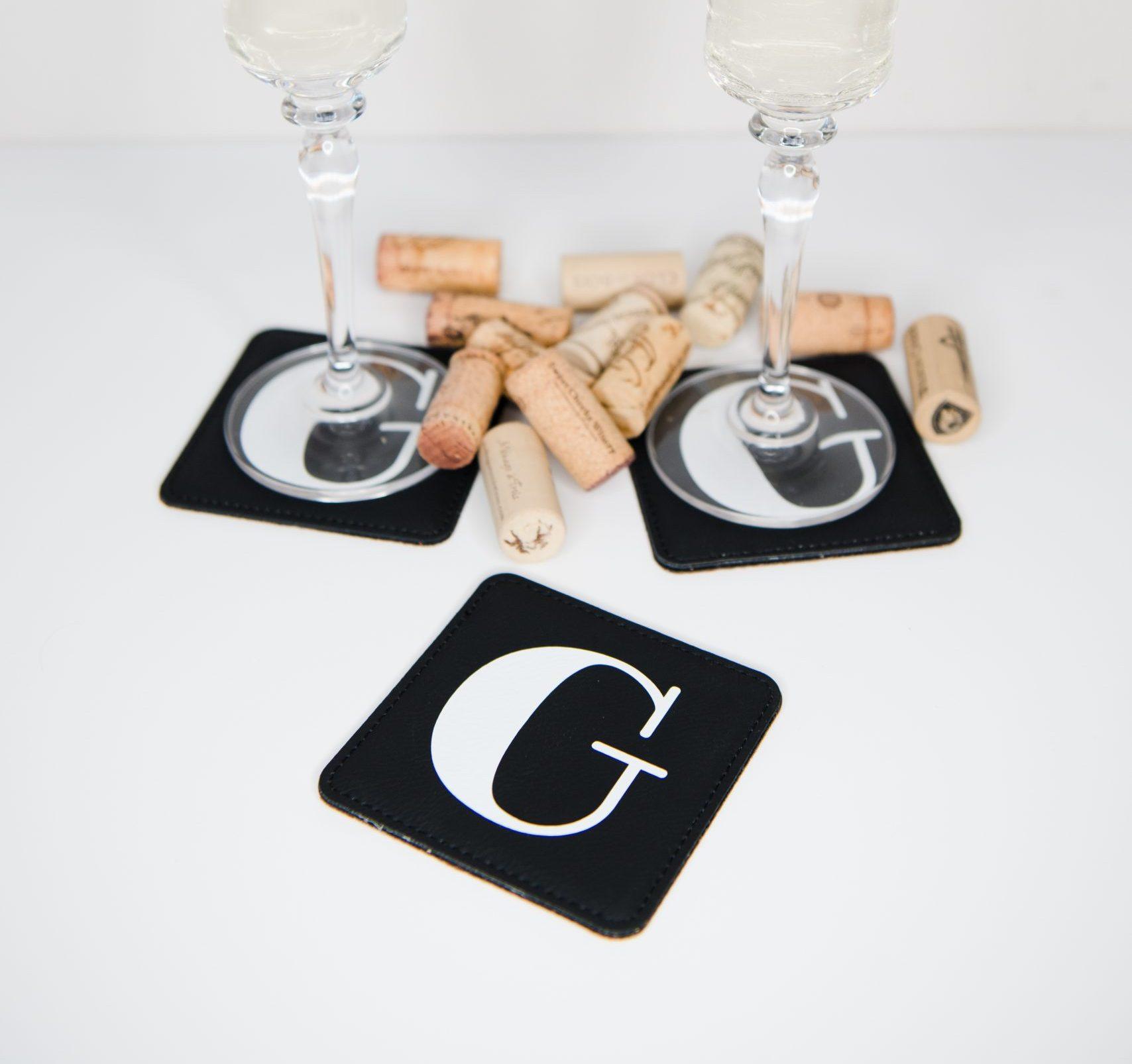 COAS06e Black Square Leather Coasters