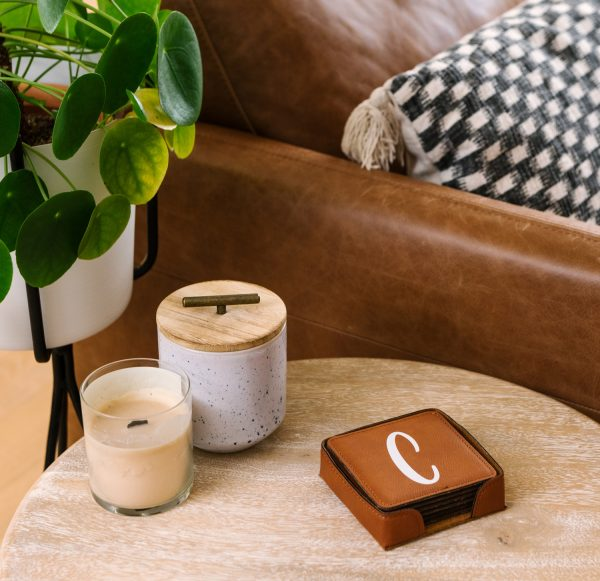 Square Chestnut Leather Coasters