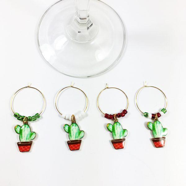christmas cactus wine charms