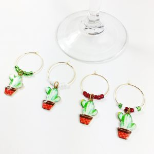 plant lover gift set of 4 cactus wine charms