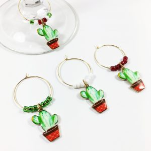 set of 4 green cactus wine charms