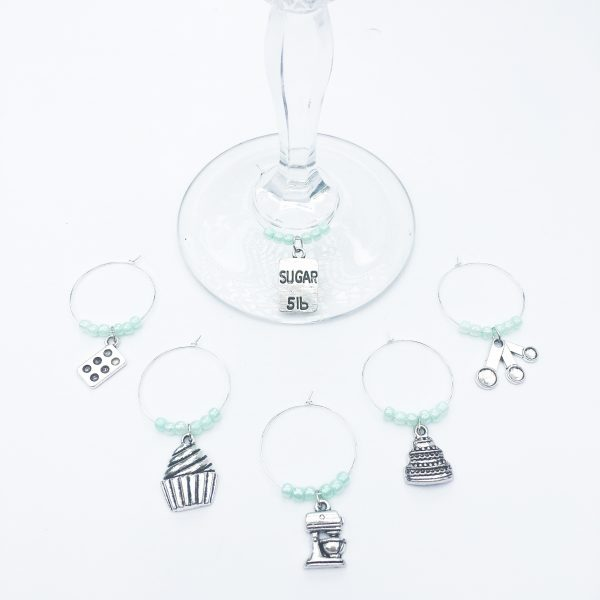 baking lover wine glass charms set of 6