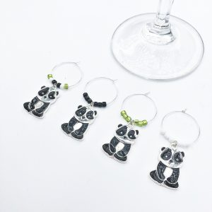 unique panda gift set of 4 panda wine charms