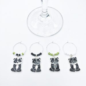 set of 4 wine charms with black and white panda charms