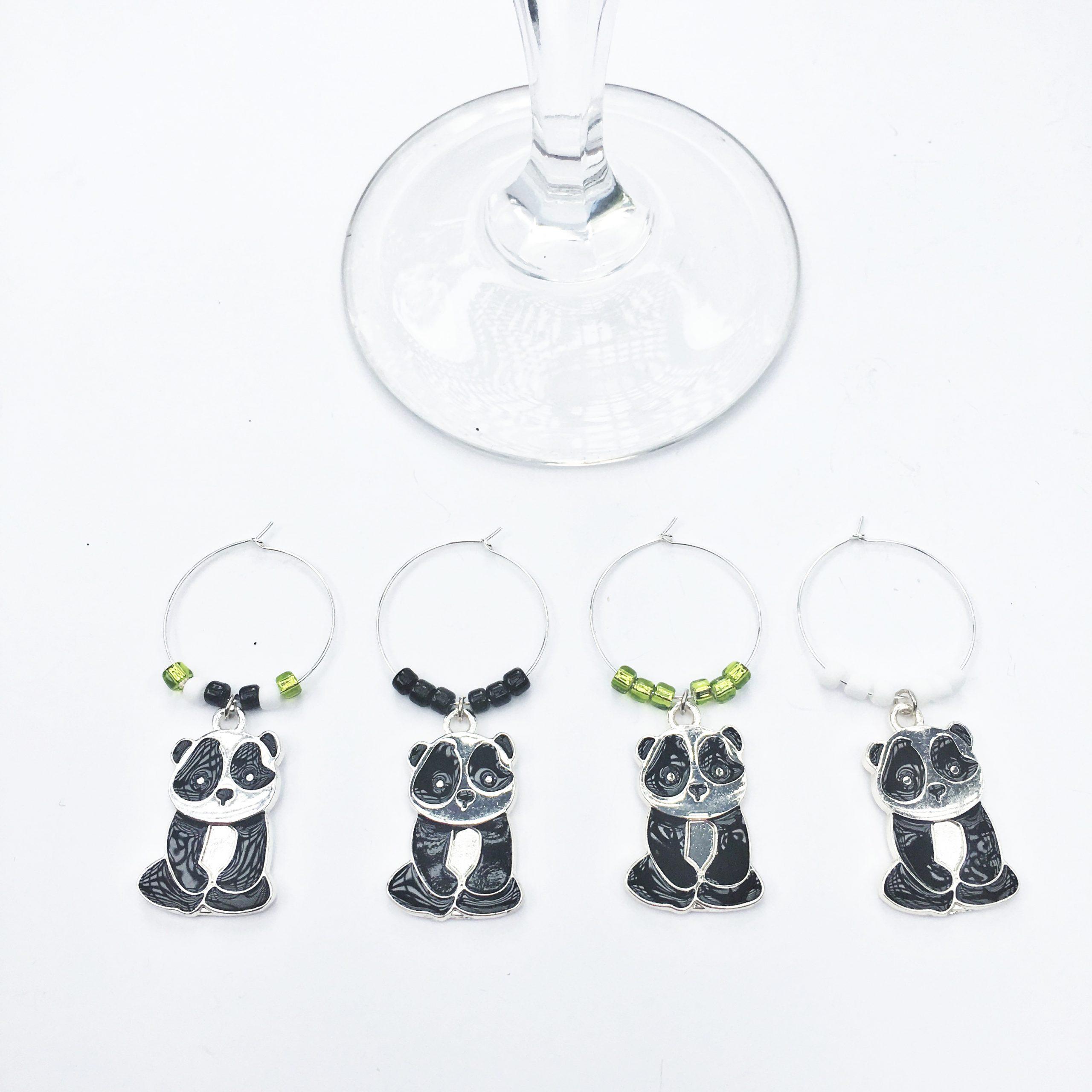 WINE192d Panda Wine Charms