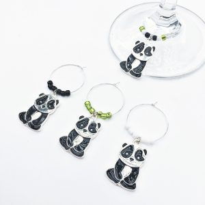 panda wine charms set of 4