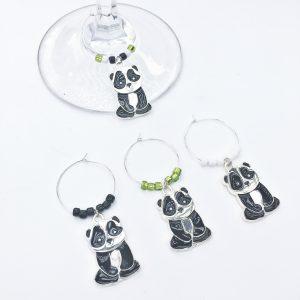 set of 4 panda wine charms