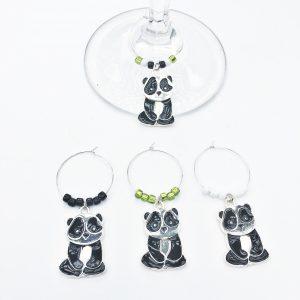 unique panda gift wine charms
