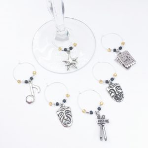 set of 6 movie inspired wine charms