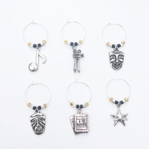 set of 6 wine charms for movie night