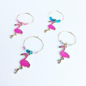set of 4 flamingo wine charms