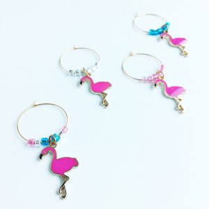 flamingo gift summer wine charms