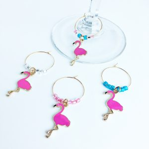 gold wine charms with pink flamingos