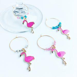 set of 4 flamingo gold wine charms