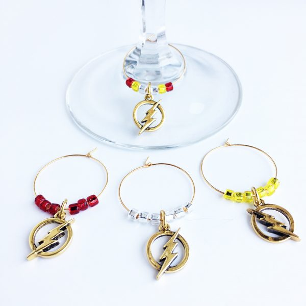 gold flash wine charms set of 4
