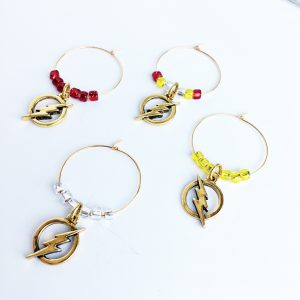 gold flash wine glass charms set of 4