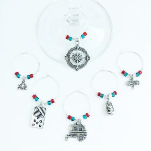 set of 6 camping theme wine glass charms