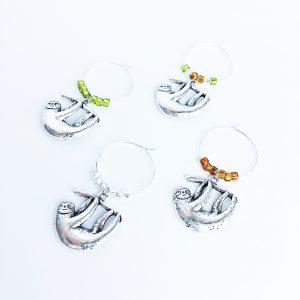 set of 4 sloth wine charms