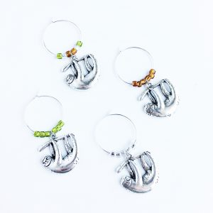 set of 4 sloth wine glass charms
