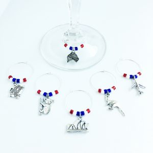 australian wine glass charms set of 6