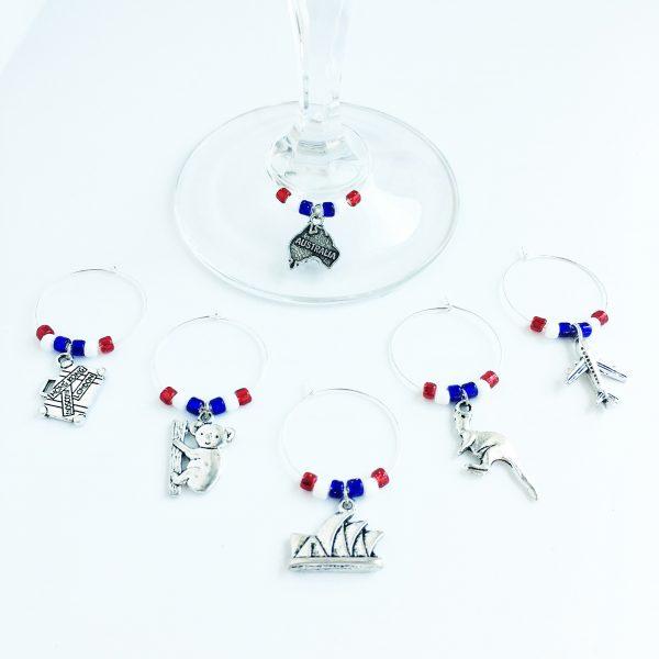 australia wine glass charms set of 6
