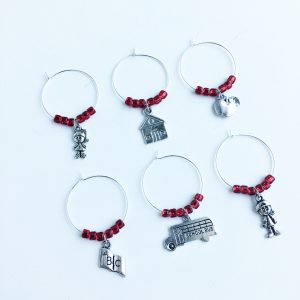 teacher thank you gift set of 6 wine charms