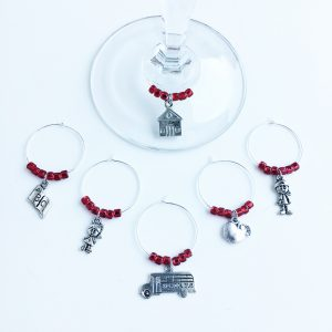 set of 6 teaching theme wine charms with red beads