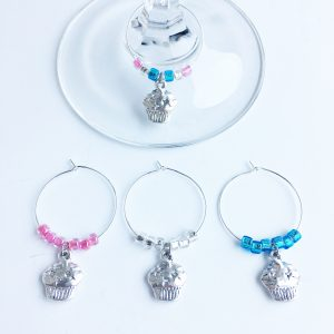 cupcake wine glass charms set of 4