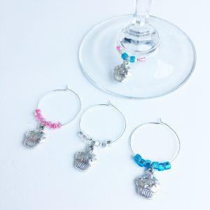 set of 4 cupcake wine glass charms