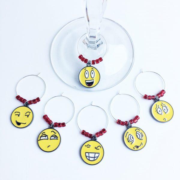 emoji wine glass charms set of 6