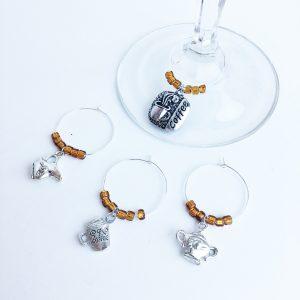 wine charms set of 4 coffee theme