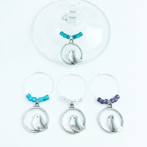 set of 4 bird wine glass charms