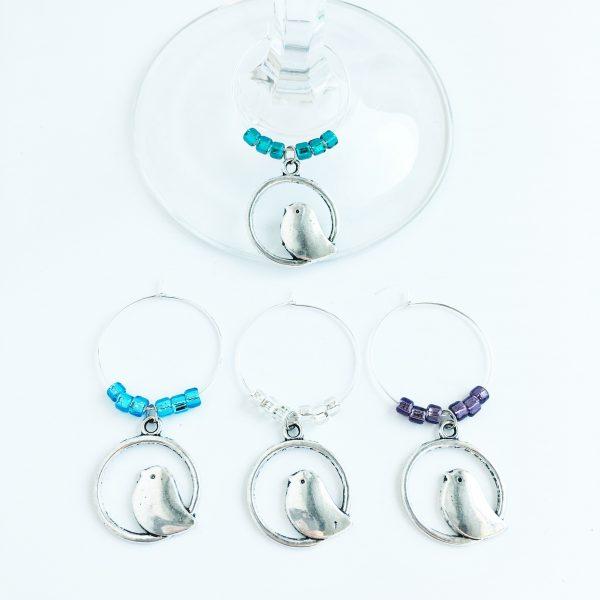 set of 4 bird wine glass charms