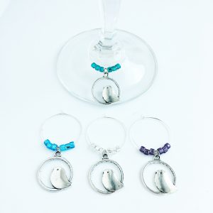 silver bird wine charms set of 4