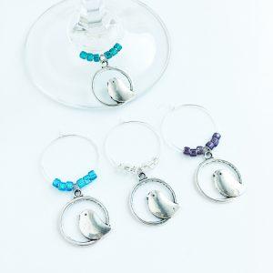 bird wine glass charms set of 4