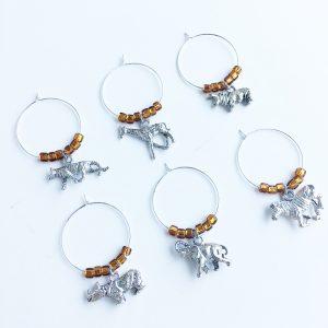 set of 6 safari animal wine glass charms