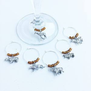 set of 6 wine charms for safari party