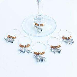wild safari wine charms set of 6