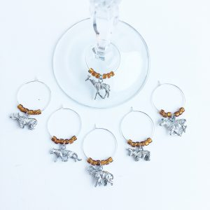 safari theme wine charms set of 6