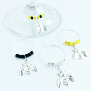 set of 4 bumble bee wine glass charms