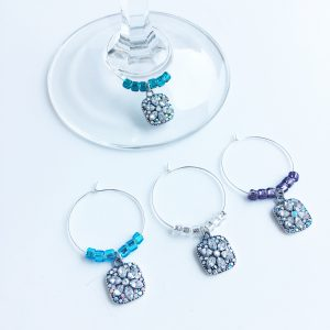 set of 4 wine charms with crystal flowers