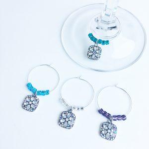 set of 6 bling flower wine charms