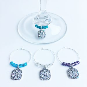 flower wine glass charms set of 4